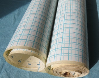 Vintage 1960s Contact Paper | Aqua Grid on White Background | Shelf Liner | Copyright 1962 | By-the-yard
