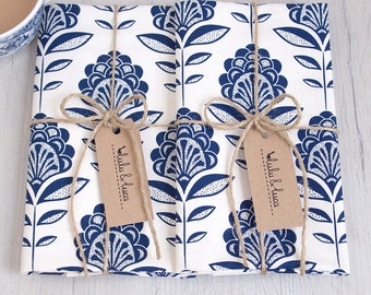 Printed peacock flower tea towels set of 2
