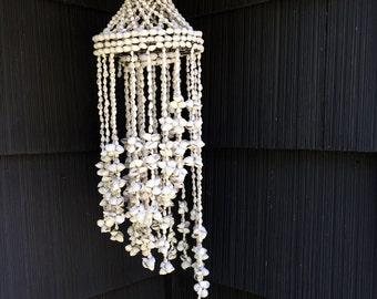 Vintage White Bleached Seashell Cascading Mobile Chandelier