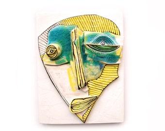 Weird Mask, Wall mask, Yellow sculpture, Wall 3d sculpture, Abstract ceramic, Modern ceramic, Abstract face, Ceramic mask, Creepy face