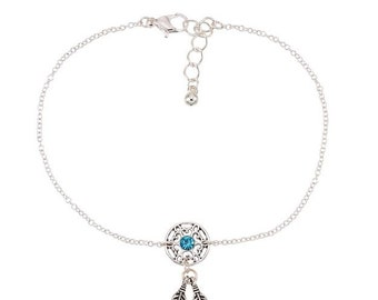 ankle silver fullxfull dream as bird anklet jewelry free feather dreamcatcher crystal il blue bracelet a catcher grande products