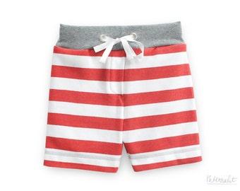 toddler boy clothes, organic toddler shorts, toddler boy jersey knit pull-on shorts, red-white striped jersey pants boy, 100% organic cotton