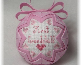 Quilted Ornament - First Grandchild - Granddaughter Ornament
