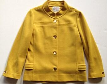 Vintage 1960s Mustard Gold Double Knit Jacket Minimalist