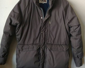 Vtg The North Face TNF Goose Down Puffy Parka Jacket Gray Grey Ski Snow Outdoor Winter Sports Mens Sz XL (Brown Label) / made in the USA