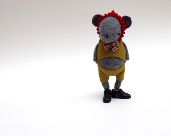 Grey Cashmere Mouse  -  Handmade plush mouse wearing felt top and pants and red felt hat.