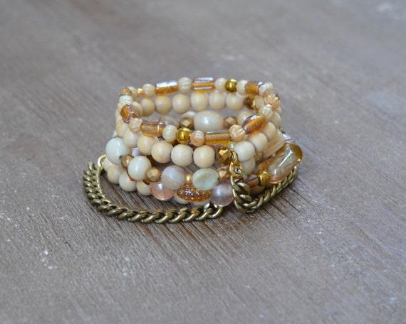 LAST ONE - The Jasmine Stack - Wood Bead Bracelet Stack - Beaded Stretch Bracelet - Ivory Bracelet - Arm Candy - Stackable Braclelet