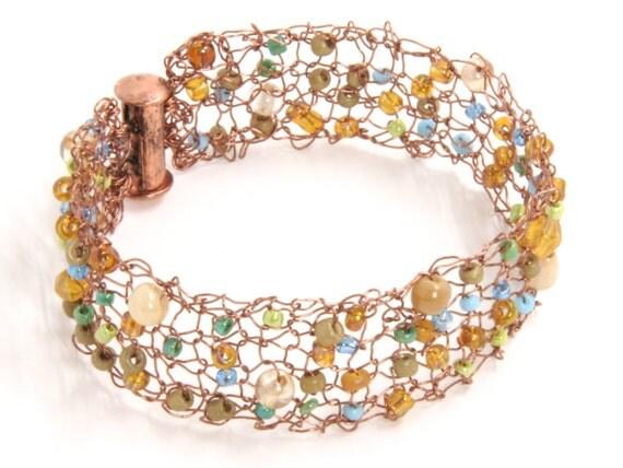 Copper Jewelry - Copper Mesh Cuff Bracelet - Rustic Beaded Mesh Bracelet - Custom Bracelet Cuff - Birthday Cuff Bracelet - Mesh Cuff Jewelry