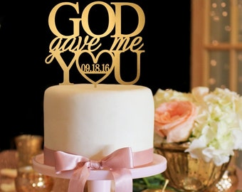 God Gave Me You Wedding Cake Topper - Gold Cake Topper - Navy Cake Topper
