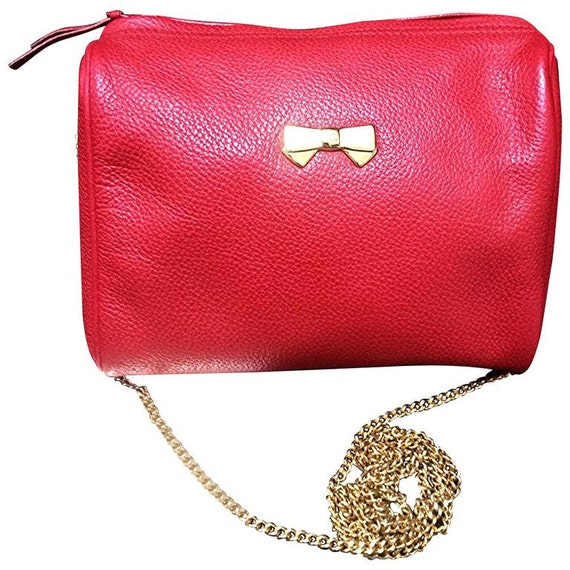 Vintage Nina Ricci Red Leather Mini Pouch Purse With Golden