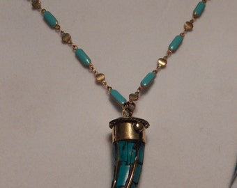 Turquois Necklace elephant tooth fang
