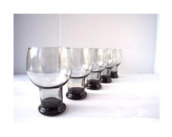 Smoked Glass Goblet Drinking Glasses (5)Minimal ModernVintage