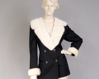 Vintage 1960s Double Breasted Tuxedo Jacket With Pearl Mink Collar