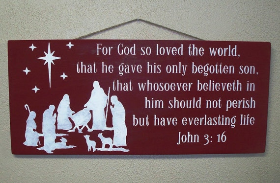 Wooden Christmas Sign -Large - 12 x 24 - Nativity - JOHN 3 16  - Reason for the Season - Creche -  Red - Christian - Hand painted on wood