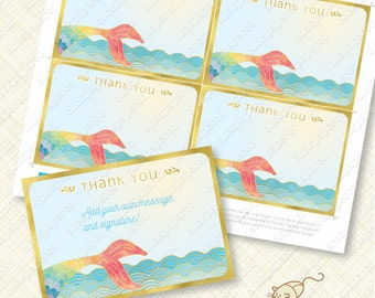 Rainbow Mermaid Thank You Card printable instant download editable pdf gold effect tail under the sea watercolor thanks greeting ocean diy