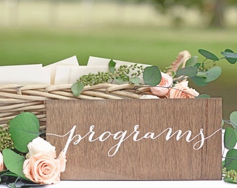 Programs Sign, Wedding Program Sign, Wooden Wedding Signs