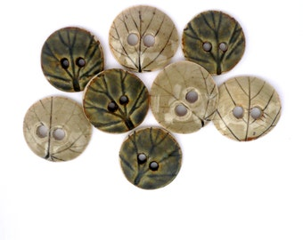 Leaf Buttons  ,  Green Buttons ,  Collectors Buttons , Porcelain Sewing Buttons, Button Jewelry Supplies