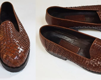 1990s Brown Woven Leather Slip On Flats / Womens Size 8.5