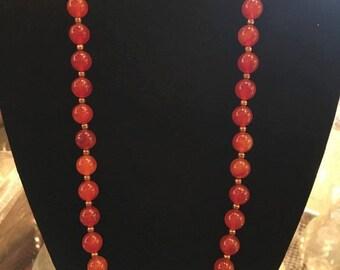 Bakelite Red/Orange Beaded Necklace