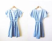 Striped Dress / Vintage Sundress / Blue and White Dress / 80s Dress