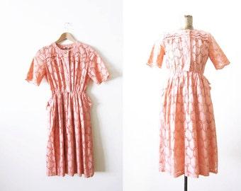 60s dress / vintage pink dress / eyelet lace sundress / spring dress