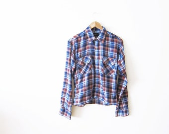 70s Shirt / Plaid Shirt / Western Shirt / Womens Plaid Shirt / Cowgirl Shirt / Western Shirt / Checkered Shirt