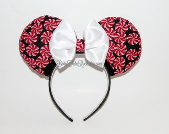 Peppermint Swirl Mouse Ears // Christmas Mouse Ears // Holiday Mouse Ears // by Born Tutu Rock