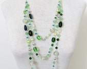 Silver Green Layered Statement Necklace - Triple Strand Bold Necklace - CLEARANCE