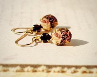 Vintage Glass Earrings, Floral Earrings, Limoges Cameo Earrings, Gold Fill Earrings, Vintage Style Jewelry, Rhinestone Drop Earrings