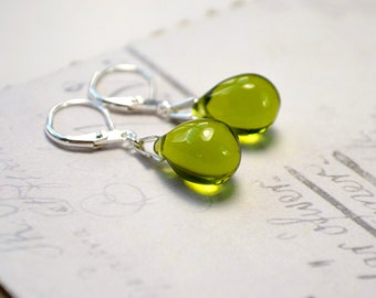 Olive Green Earrings, Green Dangle Earrings, Silver Leverback Earrings, Olive Jewelry, Gifts under 15, Olivine Teardrop Earrings Glass Beads