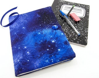Galaxy Composition Notebook Cover, Reusable Fabric Journal Cover, School Notebook  - Star Journal Notebook in Blue