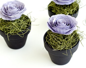 Set of 25 Guest Favors - Chalkboard Flower Pots with Book Roses and Moss - Harry Potter, Jane Austen, etc. - Wedding Centerpieces