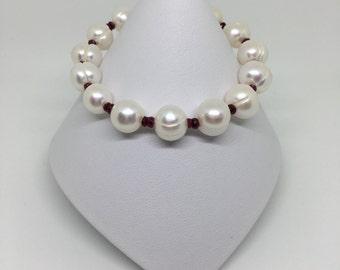 Pearl and Ruby Bracelet, Pearl Bracelet, Ruby Bracelet, Birthstone Bracelet, July Birthstone, Sterling Silver Bracelet, Red Ruby Bracelet