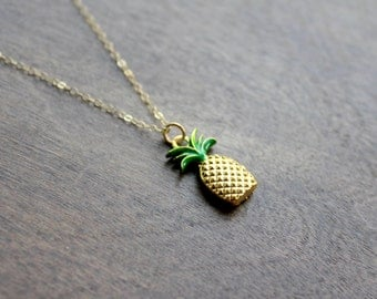 Gold Pineapple Necklace, 14k Gold Filled, Minimal Necklace, Minimal Gold Necklace, Pineapple Necklace, Gold Necklace, Pineapple, Necklace