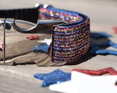 July 4th Dog Collar - Sparkly Red, White, and Blue, Gold and Silver, 4th of July Dog Collar, Patriotic, with Metal Buckle