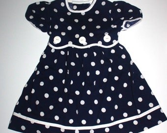RETRO NAUTICAL DRESS - Little Girls Dress - Navy with White Polka Dots - Button Accents - Bow 4T