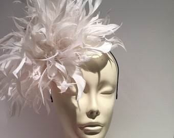 White Fascinator-  White Derby Hat- Polo Fascinator- Wedding- White Feather Fascinator- Big Hat Brunch