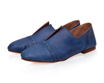 JEWEL. Blue leather flats  / women shoes / blue leather shoes / flat leather shoes. Sizes 35-43. Available in different leather colors