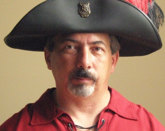 New Medieval Celtic Renaissance SCA Larp Pirate Leather Hat Deluxe with Front Brim Upward
