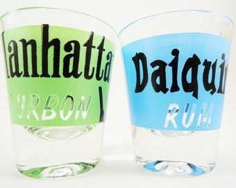 Vintage Shot Glass Set, Federal Glass 1950's Shot Glass Set, Vintage Barware, Mid Century Cocktail Set, Daiquiri, Manhattan Recipes