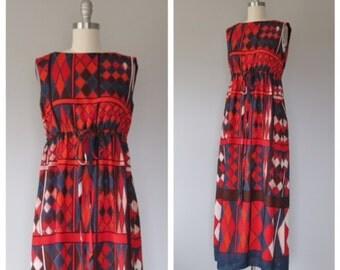 70s maxi dress size small - medium / vintage maxi dress / 70s cotton dress / vintage mod dress