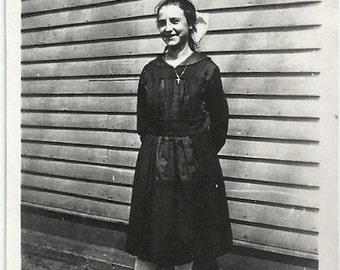 Old Photo Girl wearing Black dress Hair Bow 1910s Photograph snapshot vintage