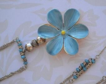 Sandor Enameled Flower Necklace, Baby Blue & Yellow Floral Necklace, Vintage Assemblage Necklace, Vermeil Sterling Silver Sandor Brooch