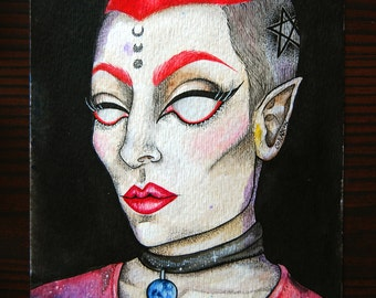 """Dorian - 5x7"""" Original watercolor painting, Character Portrait, Red hair, Punk, Pentagram, Tattoos, Witchy, Beauty"""
