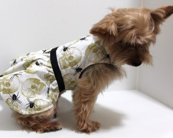 Skull Dog Dress, XS and S Golden Skulls and Black Spiders, IN STOCK - gothic Fashion dog clothes