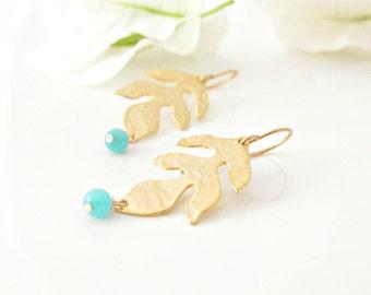 Gold Leaf Earrings -  Gold Leaves - Leaf Earrings -  Nature Jewelry