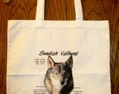 """SWEDISH VALLHUND """"History of the Breed"""" 100% Cotton Tote Bag / full color design / 15"""" x 15"""" square"""