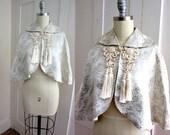 Wedding Caplet - Satin Brocade Cape - Silver Thread - Large Tassels - Short Cape - Formal Jacket - Braid Knot Closure - Over Wedding Dress