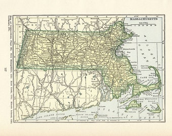 MASSACHUSETTS Map Print, Wall Decor, Michigan Map Atlas, Art Illustration to Frame, Book plate, Map, Small Print, A-28