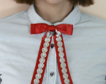 Vintage Red Silver Western Rockabilly Square Dancing Long Tie